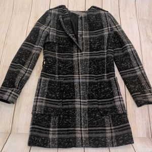 Zara Basic Plaid Wool Blend dress trench coat S